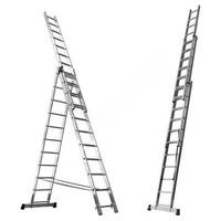 """Лестница трехсекционная универсальная алюминиевая 13 ступеней (арт. 63-3-013) """"Hardax"""""""