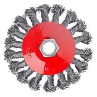 """Код 10065 ЕРМАК Щетка металлическая """"тарелка"""" крученая для УШМ 100м / М14 (арт. 656074)"""