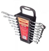 """Набор ключей рожково-накидных 8 предметов пластик холдер матовые CRV 8-19 мм """"ЕРМАК"""" (арт. 736049)"""